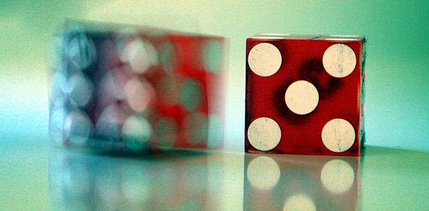 two dice on a table